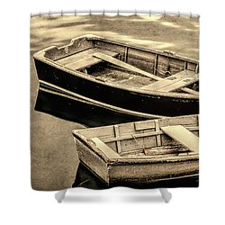 Wood Rowboats Sepia Distressed Shower Curtain