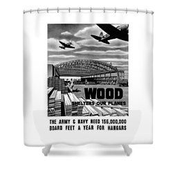 Shower Curtain featuring the painting Wood Shelters Our Planes - Ww2 by War Is Hell Store