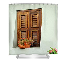 Shower Curtain featuring the photograph Wood Shuttered Window, Island Of Curacao by Kurt Van Wagner