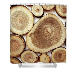 Wood Slices- Art By Linda Woods Shower Curtain by Linda Woods