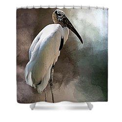 Wood Stork Shower Curtain by Cyndy Doty