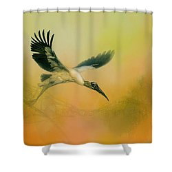 Wood Stork Encounter Shower Curtain