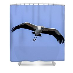 Shower Curtain featuring the photograph Wood Stork by Gary Wightman