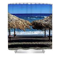 Wood Thatch Umbrellas On Black Sand Beach, Perissa Beach, In Santorini, Greece Shower Curtain
