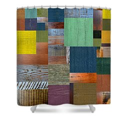 Wood With Teal And Yellow Shower Curtain by Michelle Calkins