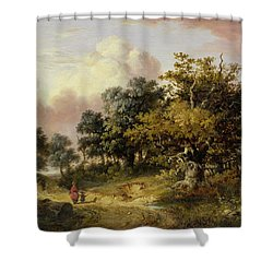 Wooded Landscape With Woman And Child Walking Down A Road  Shower Curtain by Robert Ladbrooke