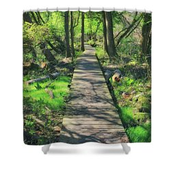 Wooded Path - Spring At Retzer Nature Center Shower Curtain by Jennifer Rondinelli Reilly - Fine Art Photography