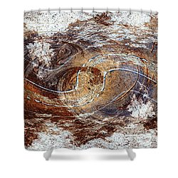 Wooden Abstract With Clouds Shower Curtain
