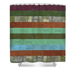 Wooden Abstract X  Shower Curtain by Michelle Calkins