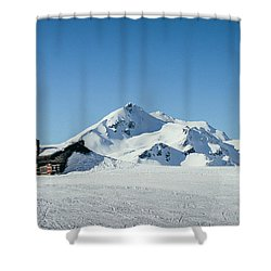 Wooden Alpine Cabin  Shower Curtain