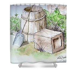 Wooden Barrel And Crate Shower Curtain