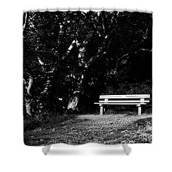 Wooden Bench In B/w Shower Curtain