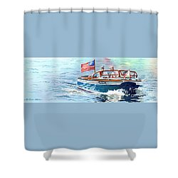 Wooden Boat Blues Shower Curtain by LeAnne Sowa