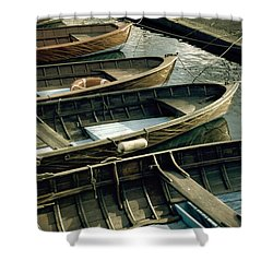 Wooden Boats Shower Curtain by Joana Kruse