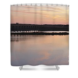 Wooden Bridge And Twilight Shower Curtain