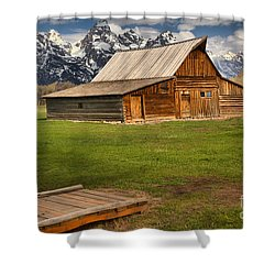 Wooden Bridge To The Wooden Barn Shower Curtain by Adam Jewell