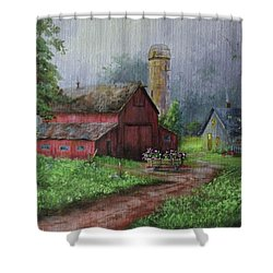 Wooden Cart Shower Curtain