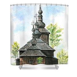 Wooden Church Shower Curtain by Jana Goode