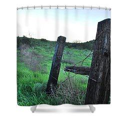 Shower Curtain featuring the photograph Wooden Gate In Field by Matt Harang