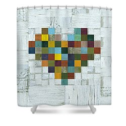 Wooden Heart 2.0 Shower Curtain by Michelle Calkins