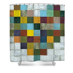 Shower Curtain featuring the digital art Wooden Heart by Michelle Calkins