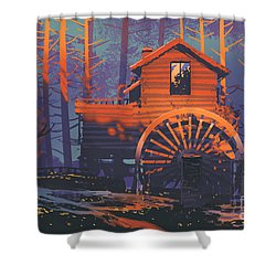 Wooden House Shower Curtain