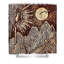 Shower Curtain featuring the drawing Wooden Landscape by Yury Bashkin