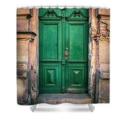 Wooden Ornamented Gate In Green Color Shower Curtain by Jaroslaw Blaminsky
