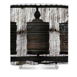 Wooden Prayer Wheels Shower Curtain by Sean White