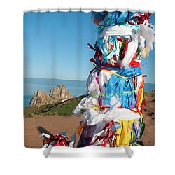 Wooden Shaman Totems  Shower Curtain