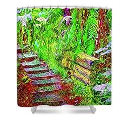 Shower Curtain featuring the digital art Wooden Steps Through The Forest - Tamalpais California by Joel Bruce Wallach