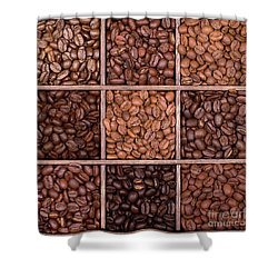 Wooden Storage Box Filled With Coffee Beans Shower Curtain