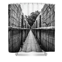Wooden Walkway. Shower Curtain