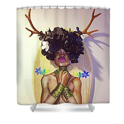 Shower Curtain featuring the mixed media Woodgoddess by Baroquen Krafts