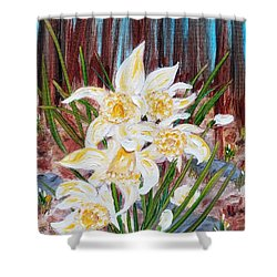 Shower Curtain featuring the painting Woodland Daffodils by Judith Rhue
