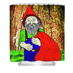 Shower Curtain featuring the digital art Woodland Elf With Sack by John Haldane