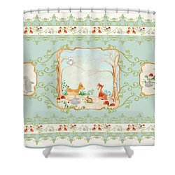 Woodland Fairy Tale - Aqua Blue Forest Gathering Of Woodland Animals Shower Curtain