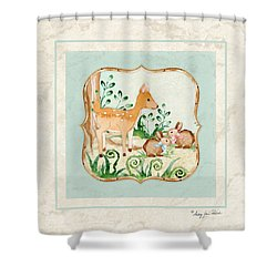 Woodland Fairy Tale - Deer Fawn Baby Bunny Rabbits In Forest Shower Curtain by Audrey Jeanne Roberts