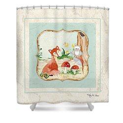 Woodland Fairy Tale - Fox Owl Mushroom Forest Shower Curtain by Audrey Jeanne Roberts