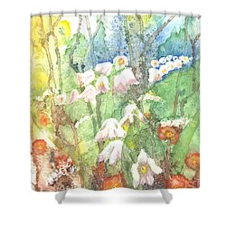Shower Curtain featuring the painting Woodland Garden by Renate Nadi Wesley
