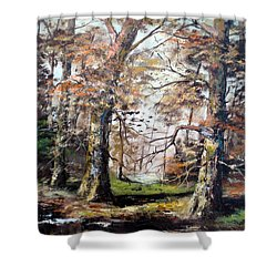 Shower Curtain featuring the painting Woodland Pond  by Lee Piper