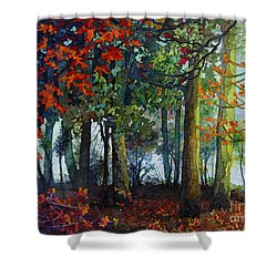 Shower Curtain featuring the painting Woodland Trail by Hailey E Herrera