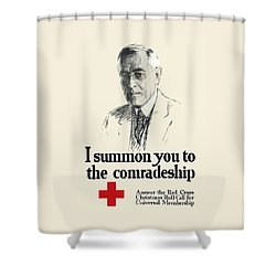 Woodrow Wison Red Cross Roll Call Shower Curtain by War Is Hell Store