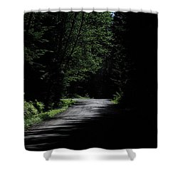 Woods, Road And The Darkness Shower Curtain by John Rossman