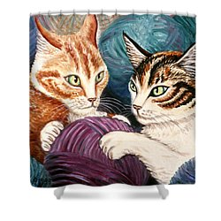 Wooly Rollick Shower Curtain by Linda Mears