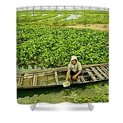 Work Hard With Smile Shower Curtain by Arik S Mintorogo