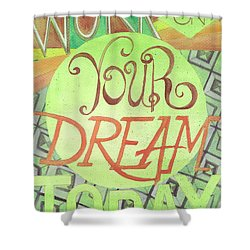 Shower Curtain featuring the painting Work On Your Dream by Erin Fickert-Rowland