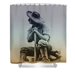 Working Man Shower Curtain by Bill Cannon