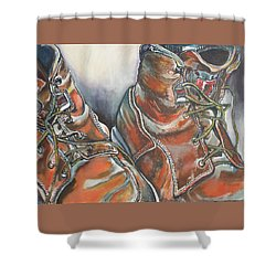 Working Man's Boots Shower Curtain by Stephanie Come-Ryker