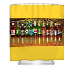 Shower Curtain featuring the photograph World Beers By Kaye Menner by Kaye Menner
